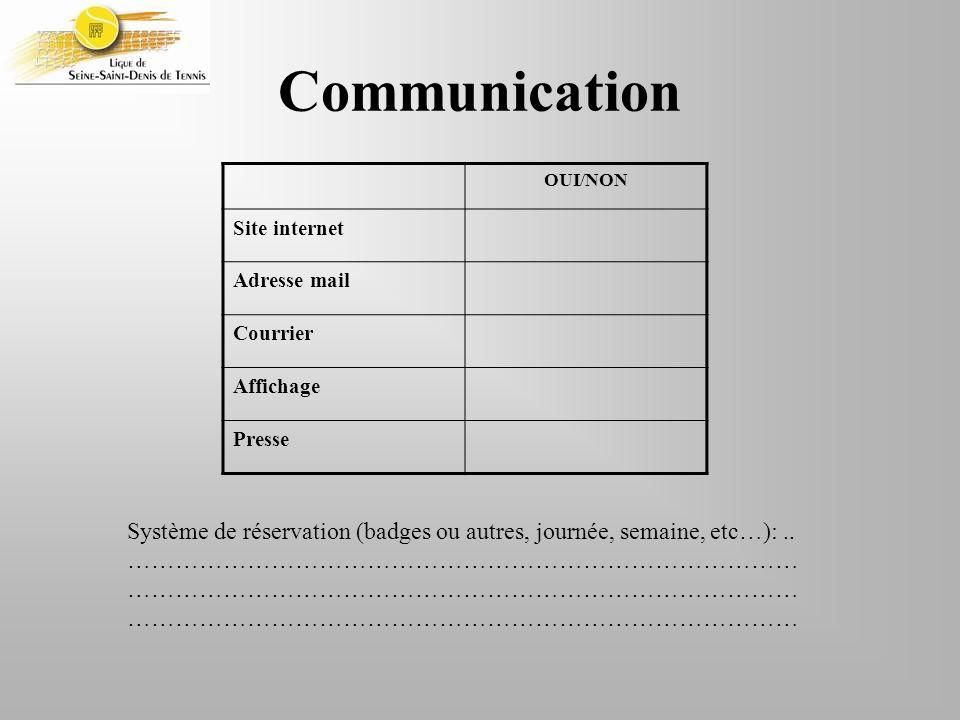 Communication OUI/NON. Site internet. Adresse mail. Courrier. Affichage. Presse.