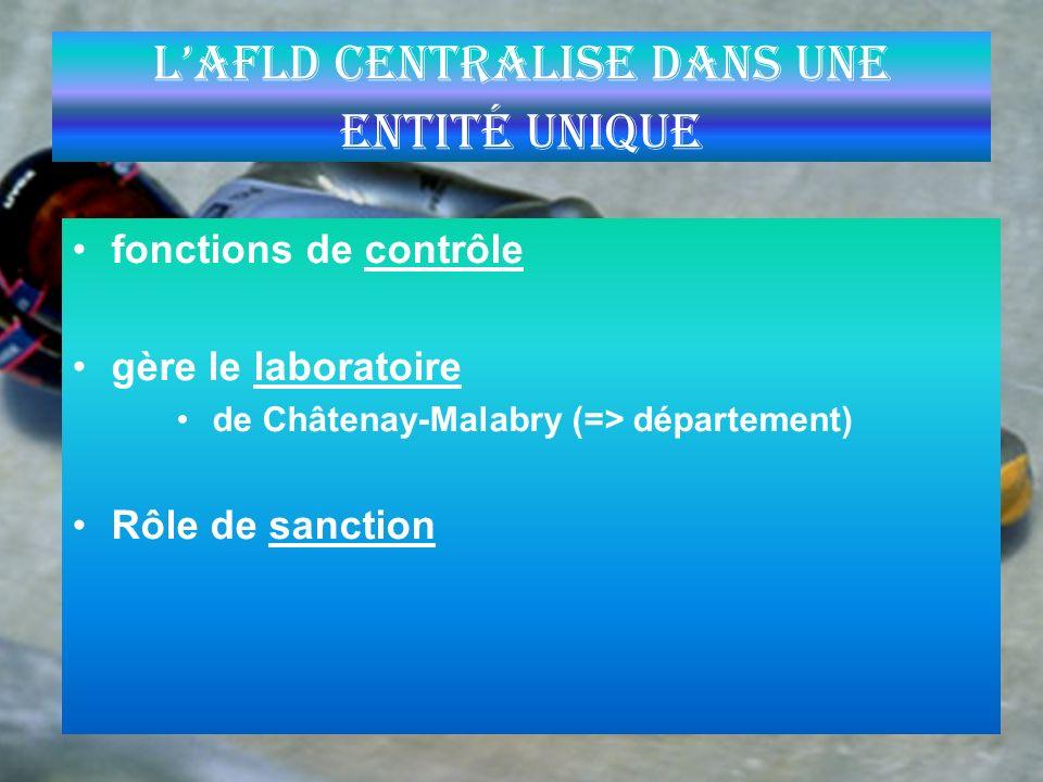 L'AFLD centralise dans une entité unique