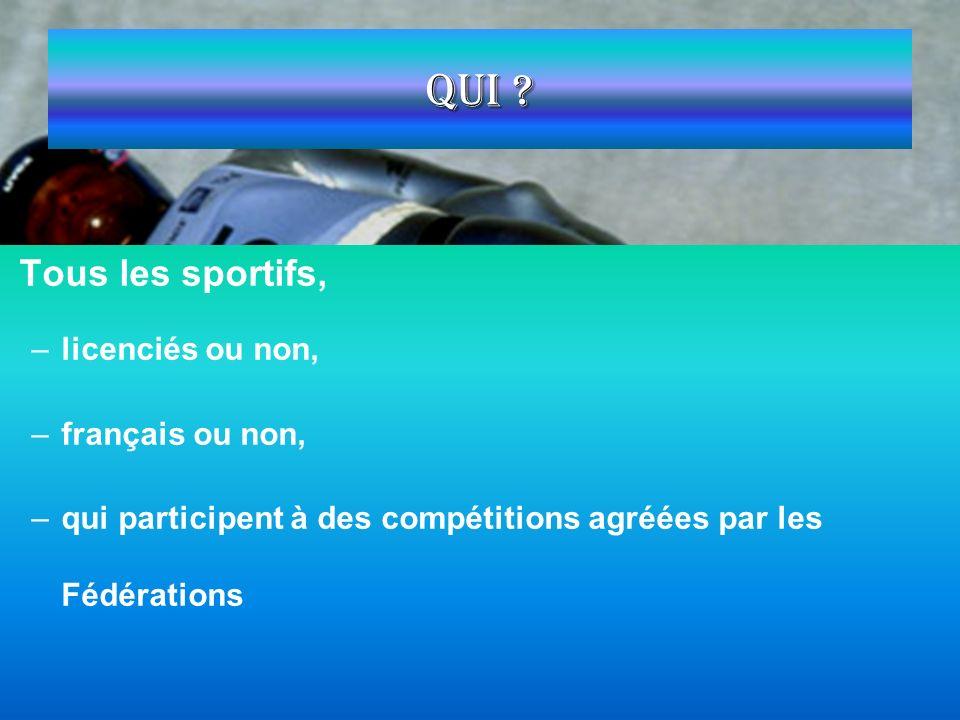 Qui Tous les sportifs, licenciés ou non, français ou non,