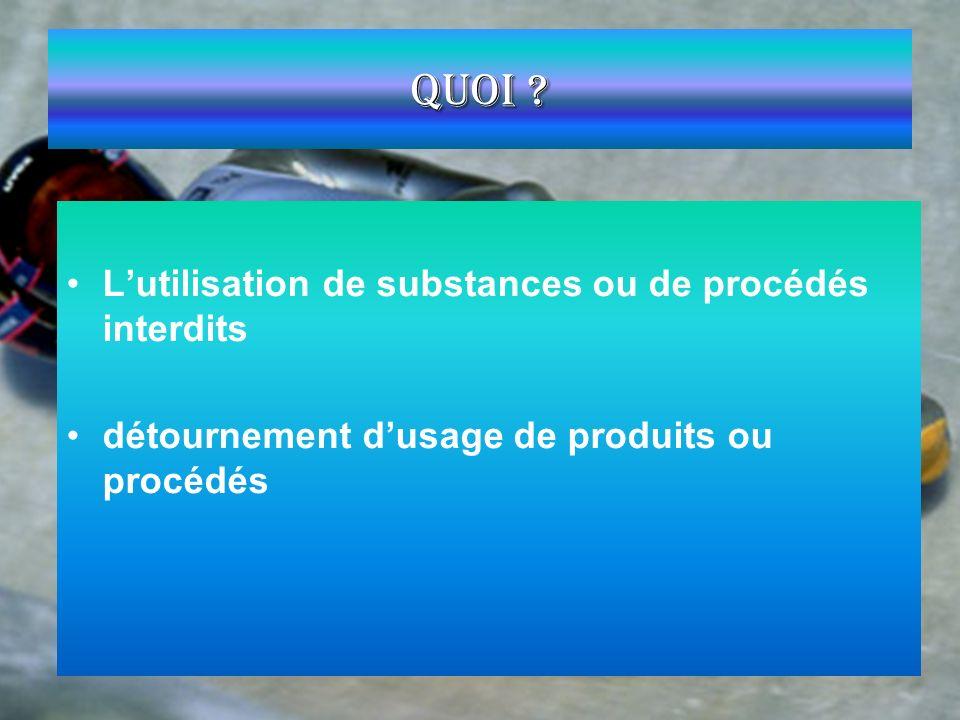 Quoi L'utilisation de substances ou de procédés interdits