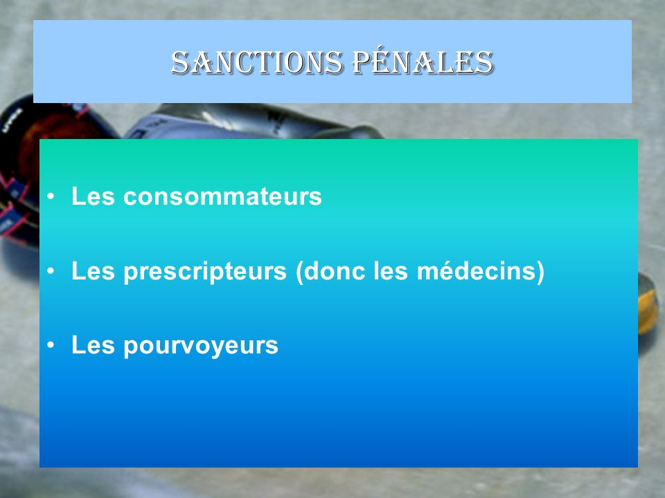 Sanctions pénales Les consommateurs
