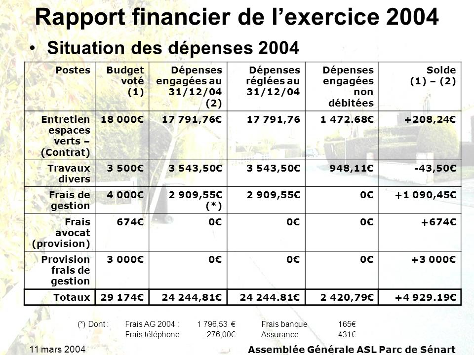 Rapport financier de l'exercice 2004
