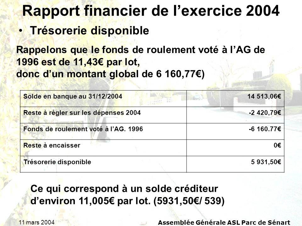 Rapport financier de l'exercice 2004