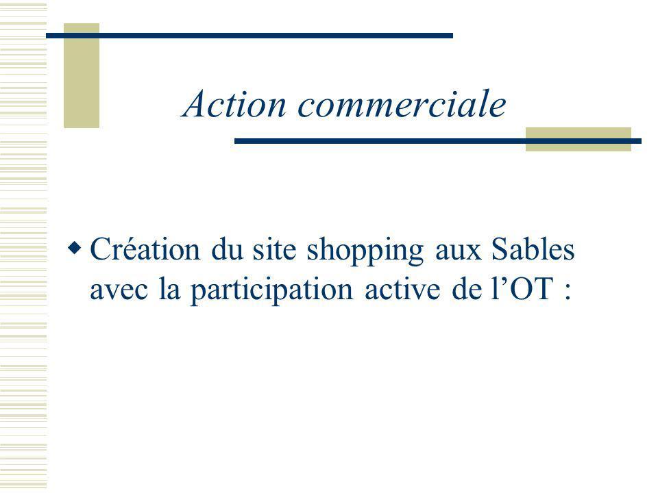 Action commerciale Création du site shopping aux Sables avec la participation active de l'OT :