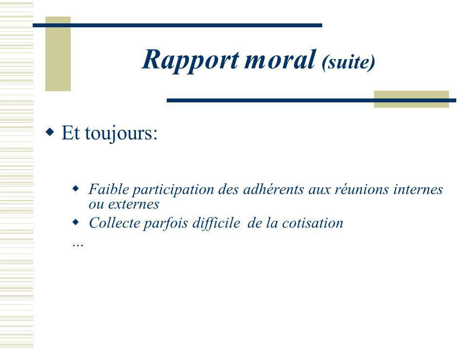 Rapport moral (suite) Et toujours: