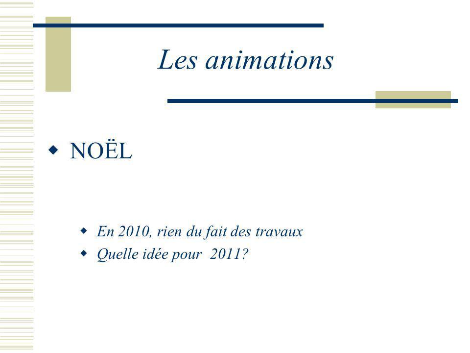 Les animations NOËL En 2010, rien du fait des travaux