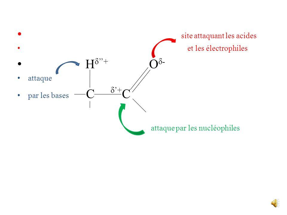 site attaquant les acides Hδ''+ Oδ-