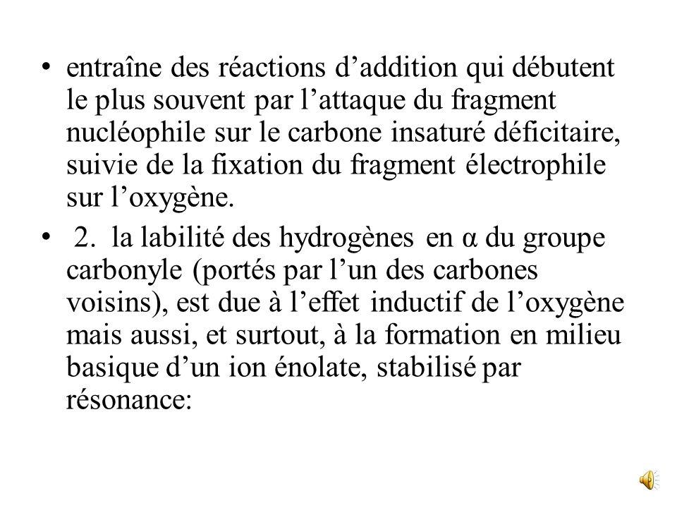 entraîne des réactions d'addition qui débutent le plus souvent par l'attaque du fragment nucléophile sur le carbone insaturé déficitaire, suivie de la fixation du fragment électrophile sur l'oxygène.