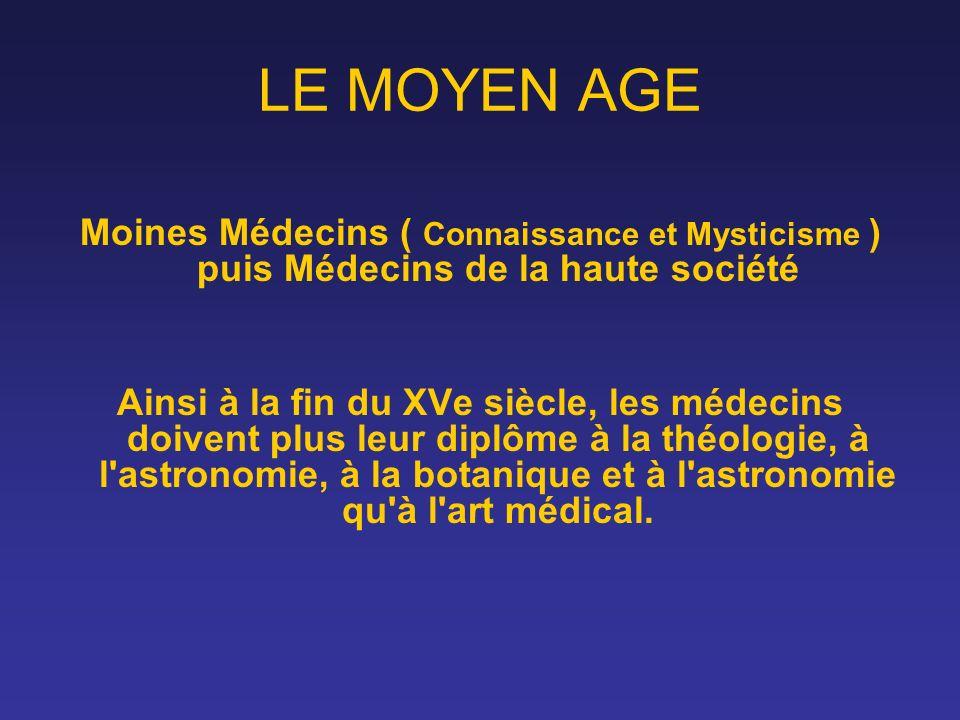 LE MOYEN AGE Moines Médecins ( Connaissance et Mysticisme ) puis Médecins de la haute société.