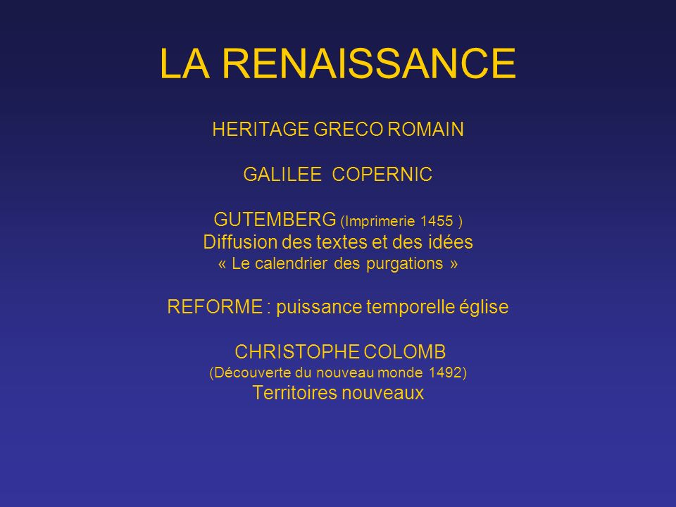 LA RENAISSANCE HERITAGE GRECO ROMAIN GALILEE COPERNIC