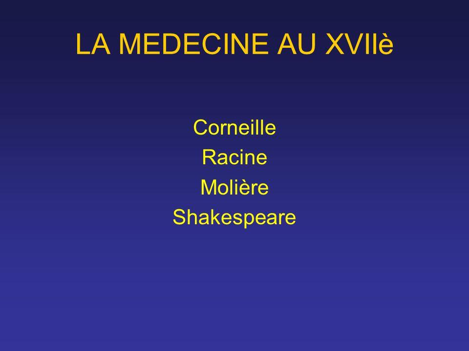 LA MEDECINE AU XVIIè Corneille Racine Molière Shakespeare