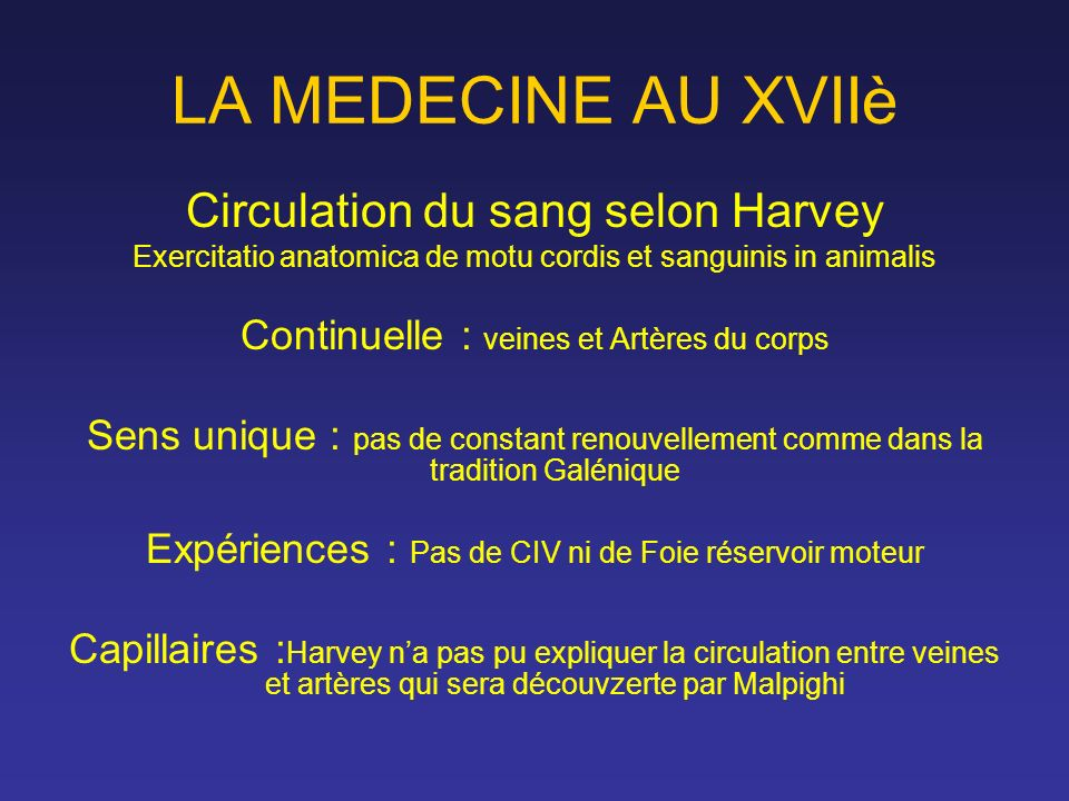 LA MEDECINE AU XVIIè Circulation du sang selon Harvey