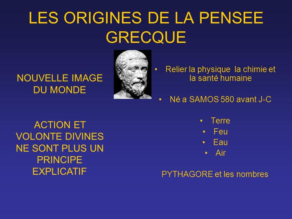 LES ORIGINES DE LA PENSEE GRECQUE
