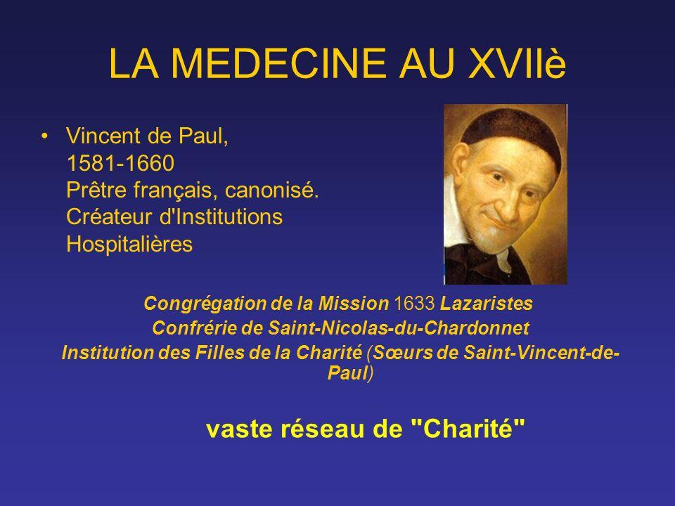 LA MEDECINE AU XVIIè Vincent de Paul, 1581-1660 Prêtre français, canonisé. Créateur d Institutions Hospitalières.