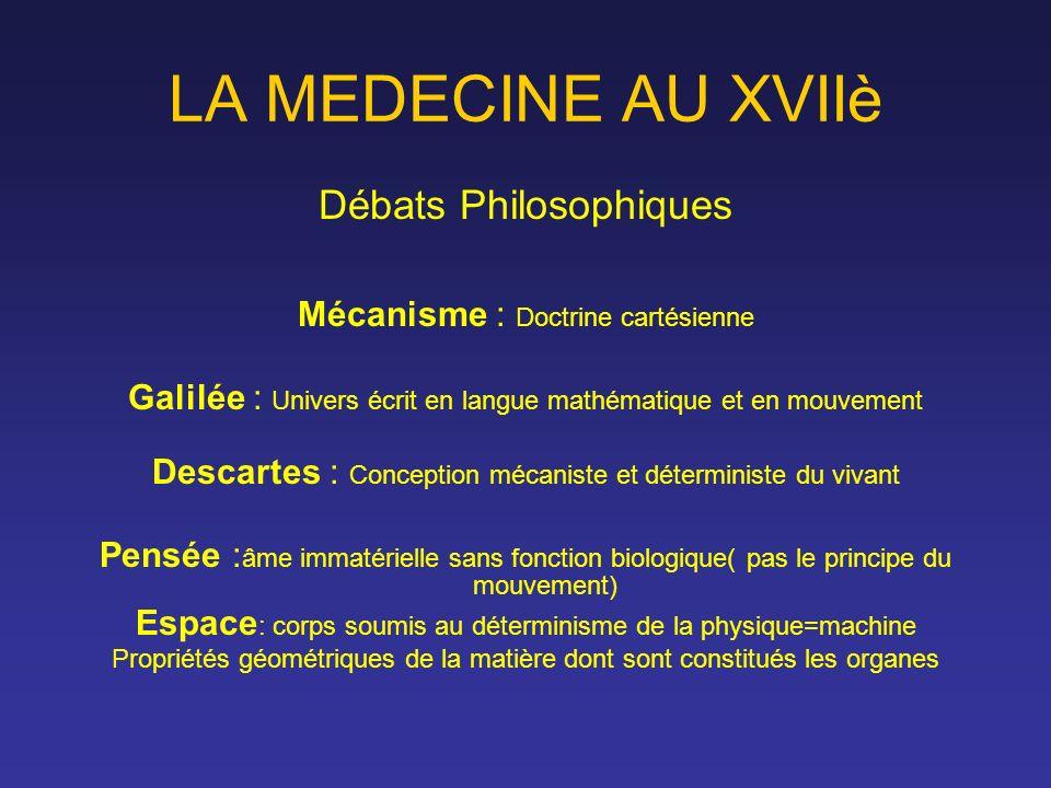 LA MEDECINE AU XVIIè Débats Philosophiques