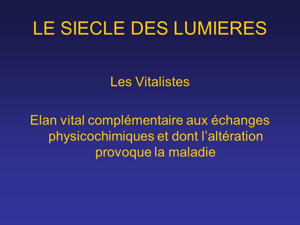 LE SIECLE DES LUMIERES Les Vitalistes
