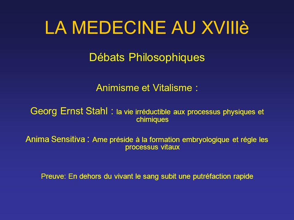 LA MEDECINE AU XVIIIè Débats Philosophiques Animisme et Vitalisme :