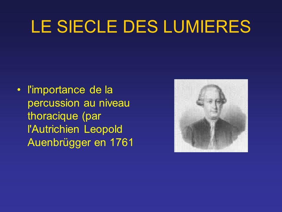 LE SIECLE DES LUMIERES l importance de la percussion au niveau thoracique (par l Autrichien Leopold Auenbrügger en 1761.