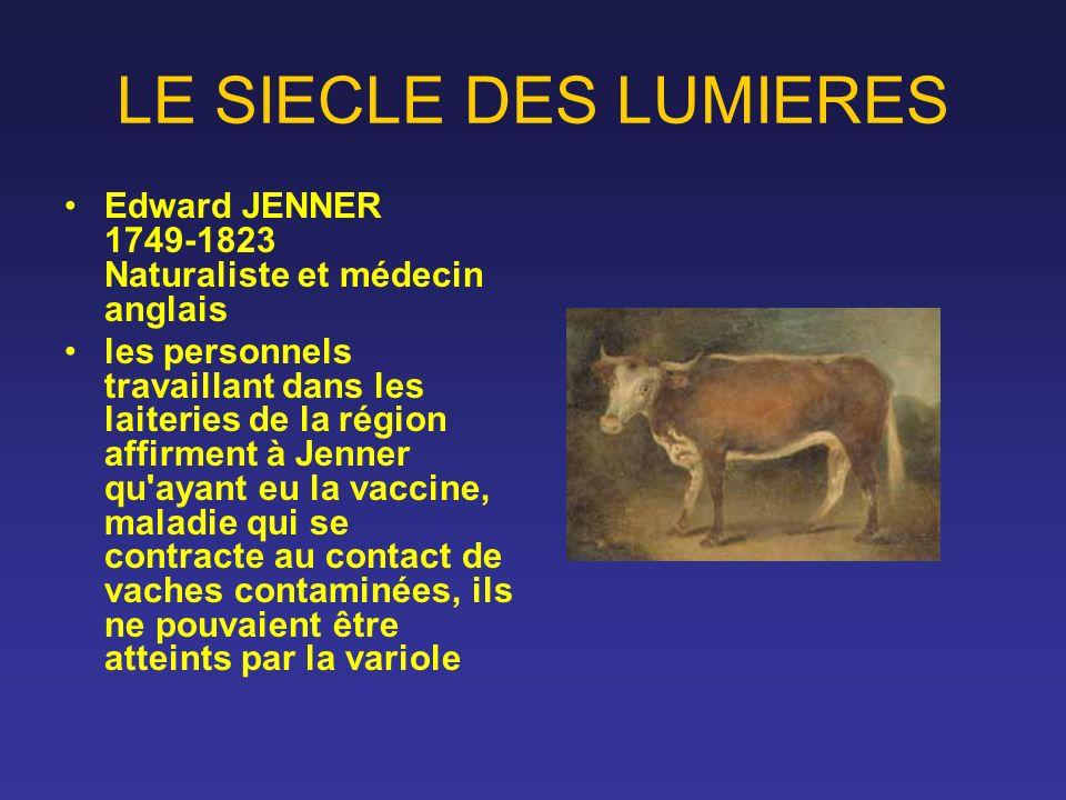 LE SIECLE DES LUMIERES Edward JENNER 1749-1823 Naturaliste et médecin anglais.