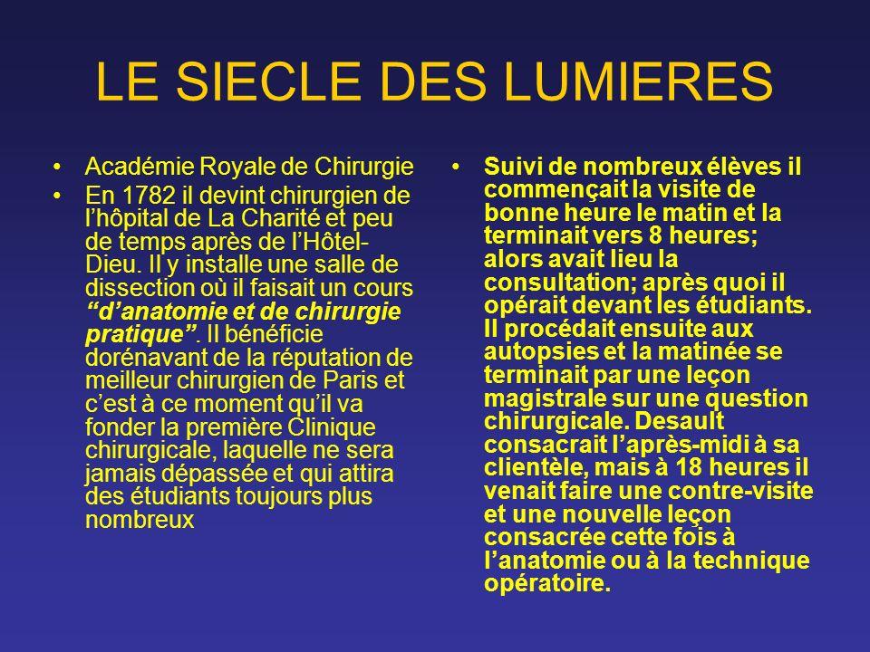 LE SIECLE DES LUMIERES Académie Royale de Chirurgie