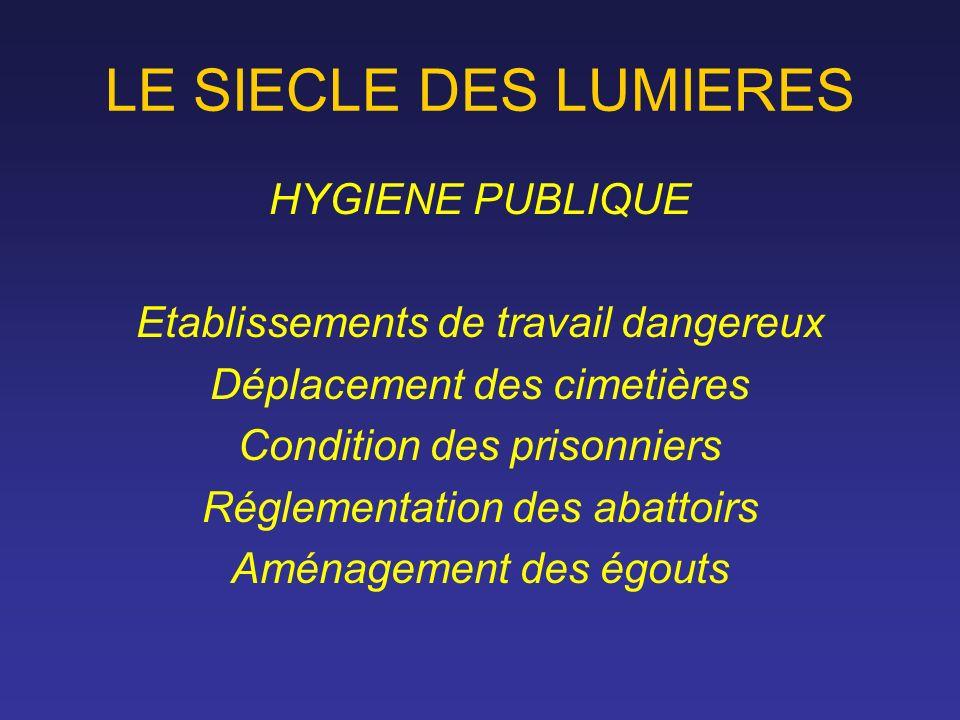 LE SIECLE DES LUMIERES HYGIENE PUBLIQUE