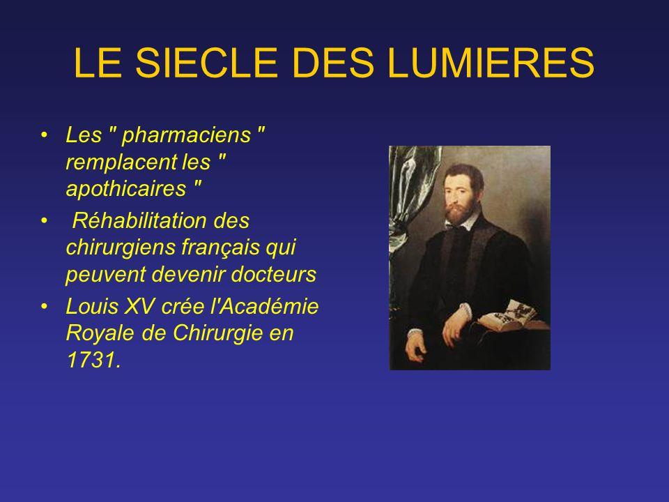 LE SIECLE DES LUMIERES Les pharmaciens remplacent les apothicaires Réhabilitation des chirurgiens français qui peuvent devenir docteurs.