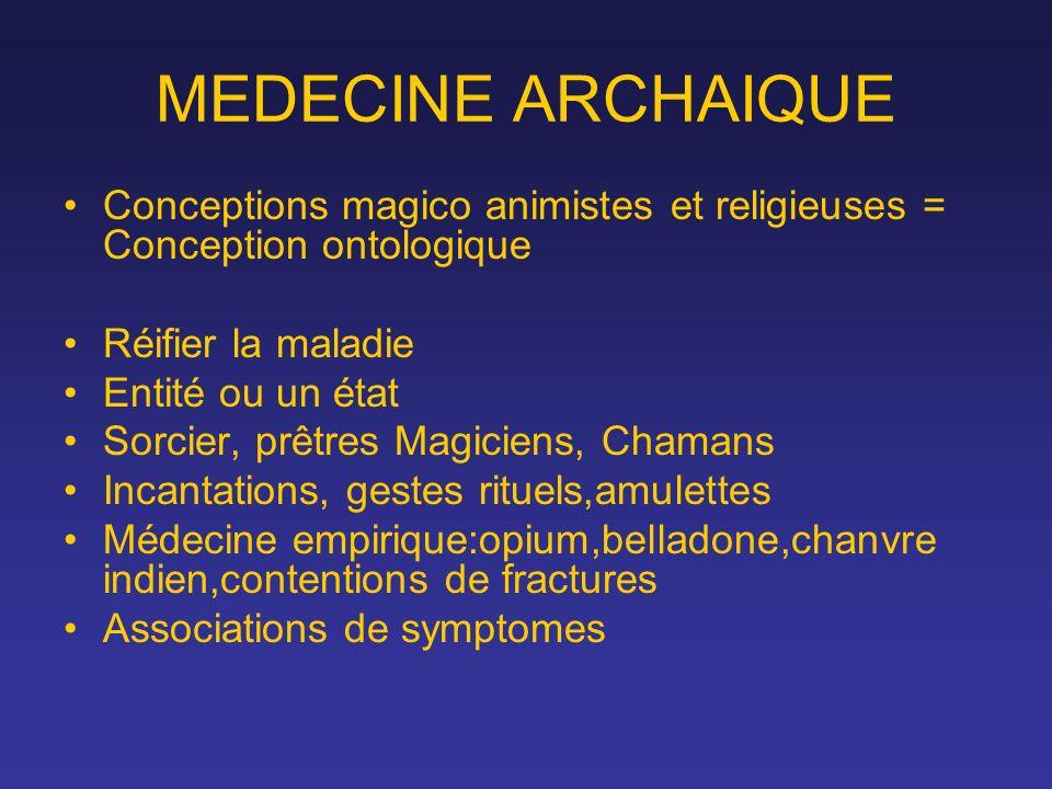 MEDECINE ARCHAIQUE Conceptions magico animistes et religieuses = Conception ontologique. Réifier la maladie.