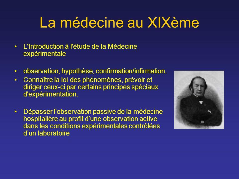 La médecine au XIXème L Introduction à l étude de la Médecine expérimentale. observation, hypothèse, confirmation/infirmation.