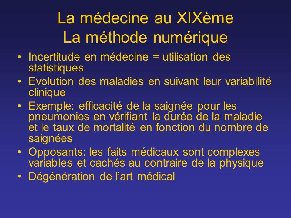 La médecine au XIXème La méthode numérique