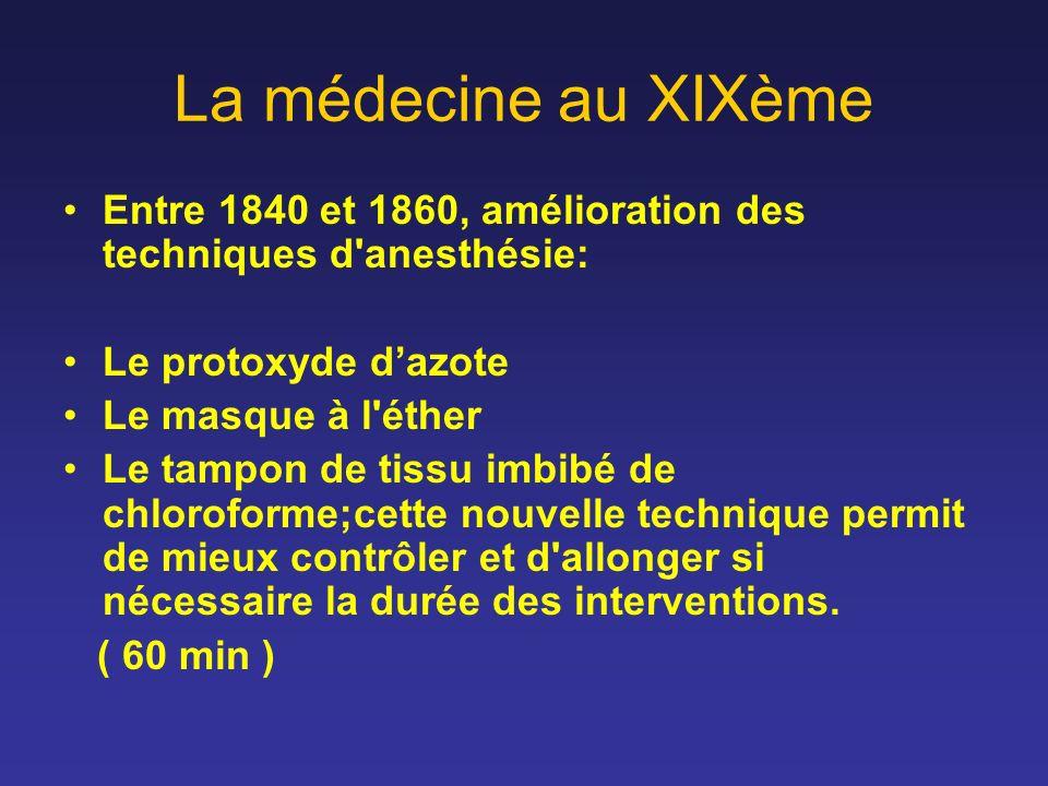 La médecine au XIXème Entre 1840 et 1860, amélioration des techniques d anesthésie: Le protoxyde d'azote.