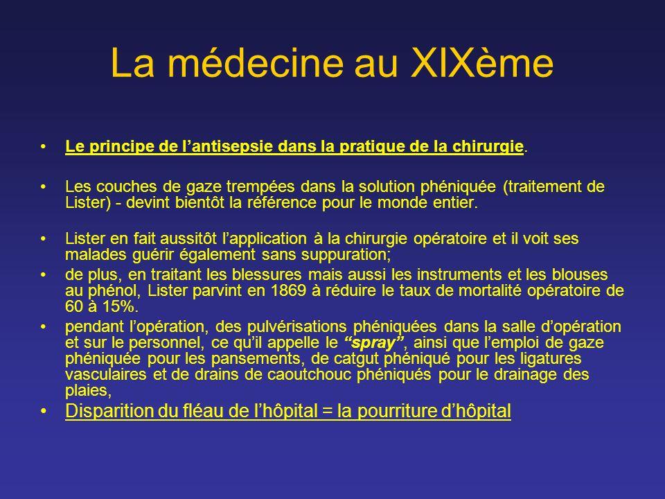 La médecine au XIXème Le principe de l'antisepsie dans la pratique de la chirurgie.