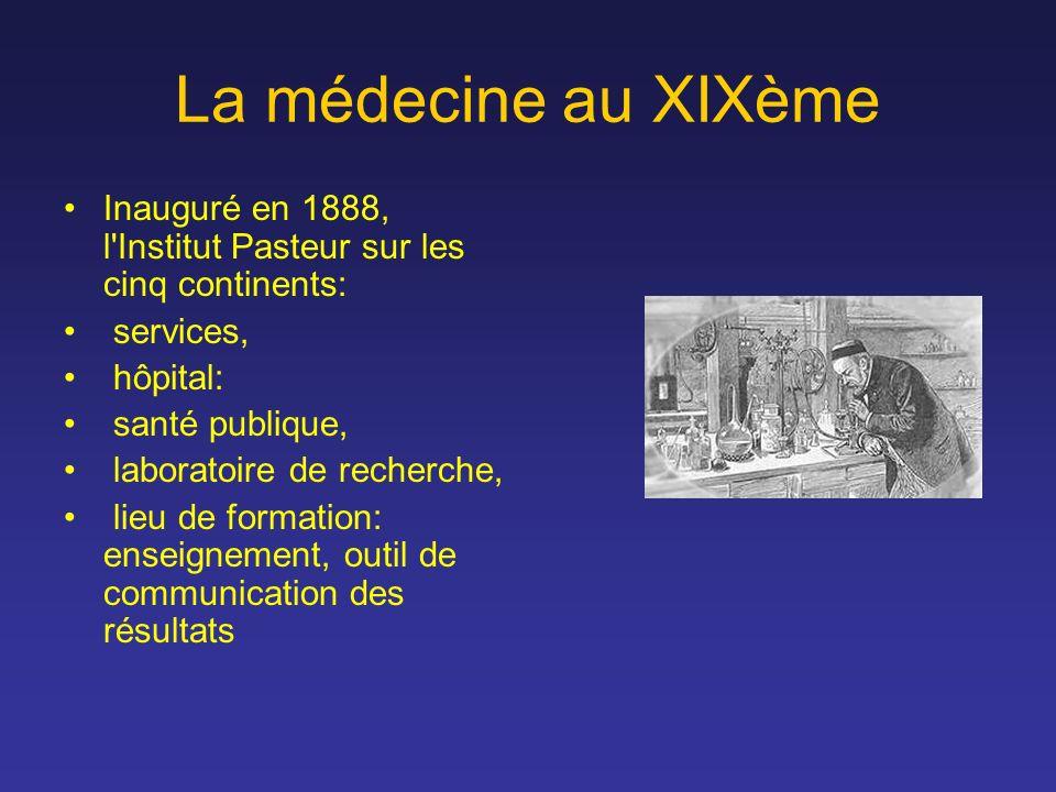 La médecine au XIXème Inauguré en 1888, l Institut Pasteur sur les cinq continents: services, hôpital: