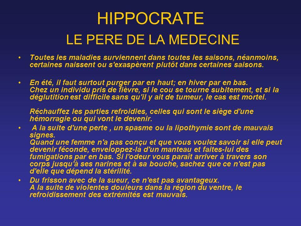 HIPPOCRATE LE PERE DE LA MEDECINE