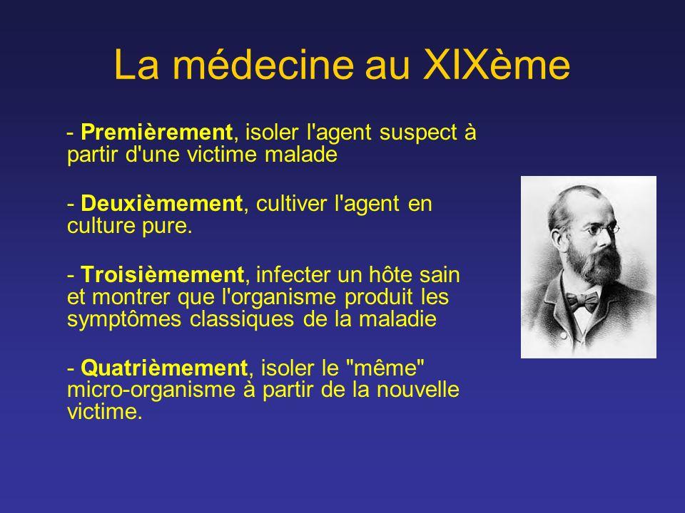 La médecine au XIXème - Premièrement, isoler l agent suspect à partir d une victime malade. - Deuxièmement, cultiver l agent en culture pure.