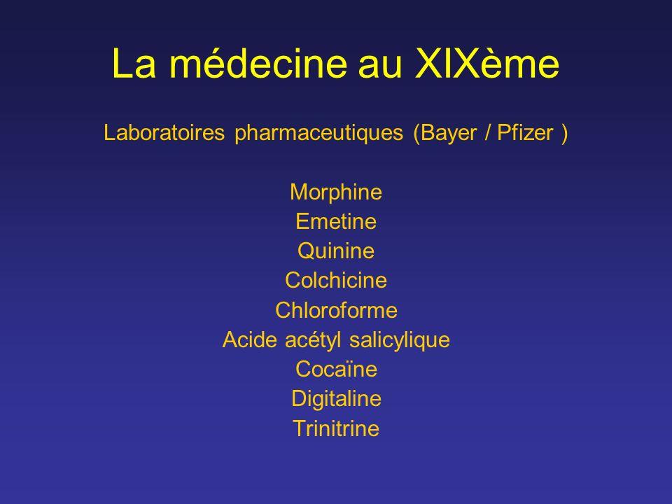 La médecine au XIXème Laboratoires pharmaceutiques (Bayer / Pfizer )