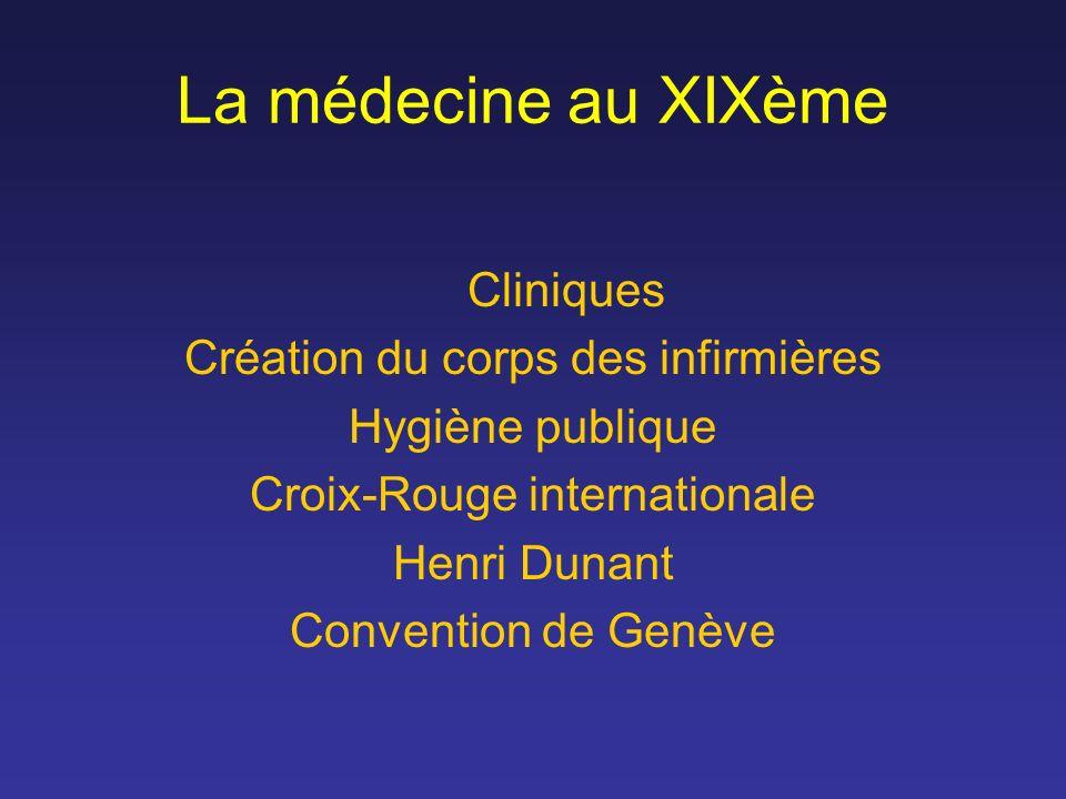 La médecine au XIXème Cliniques Création du corps des infirmières