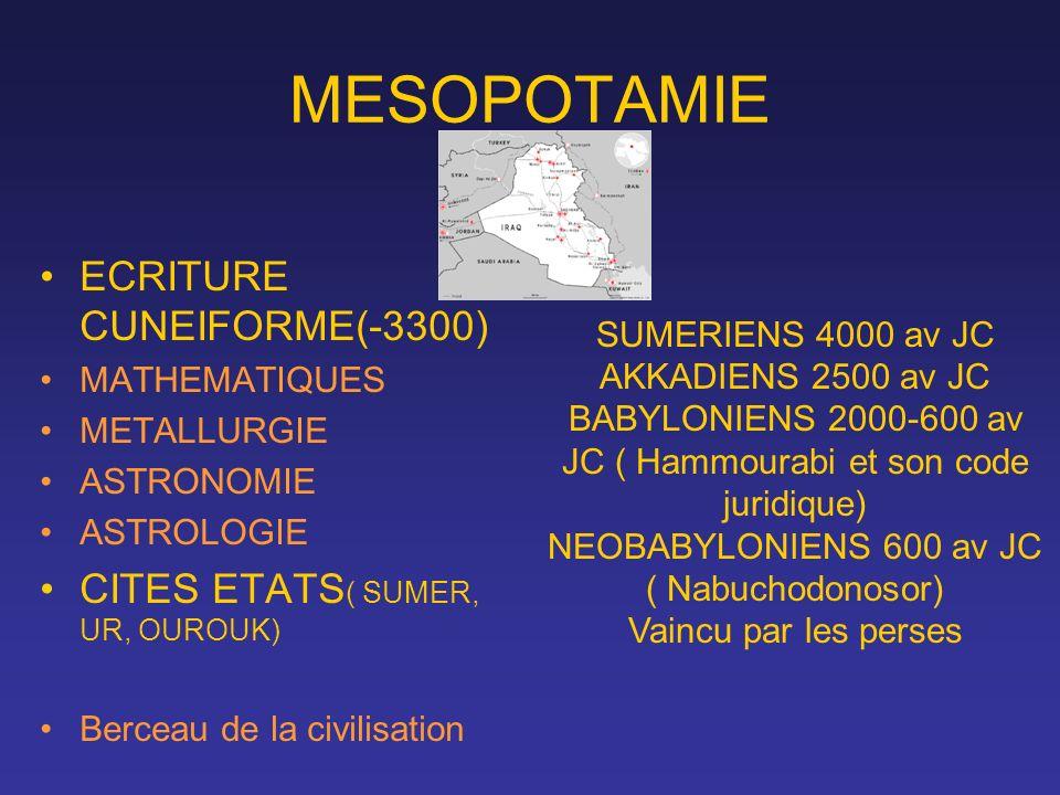 MESOPOTAMIE ECRITURE CUNEIFORME(-3300) CITES ETATS( SUMER, UR, OUROUK)