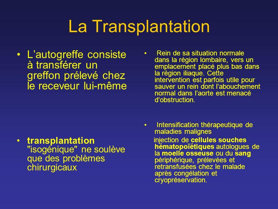 La Transplantation L'autogreffe consiste à transférer un greffon prélevé chez le receveur lui-même.