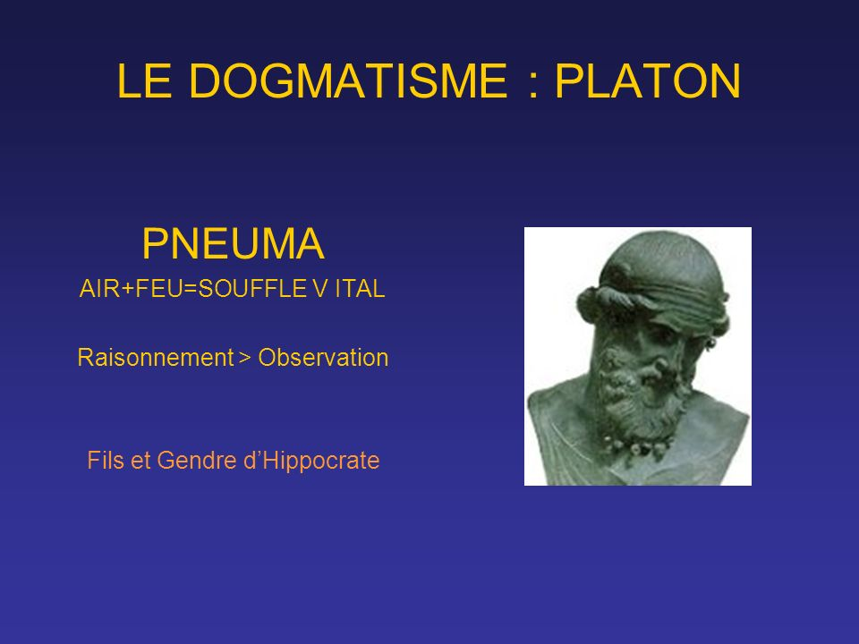 LE DOGMATISME : PLATON PNEUMA AIR+FEU=SOUFFLE V ITAL