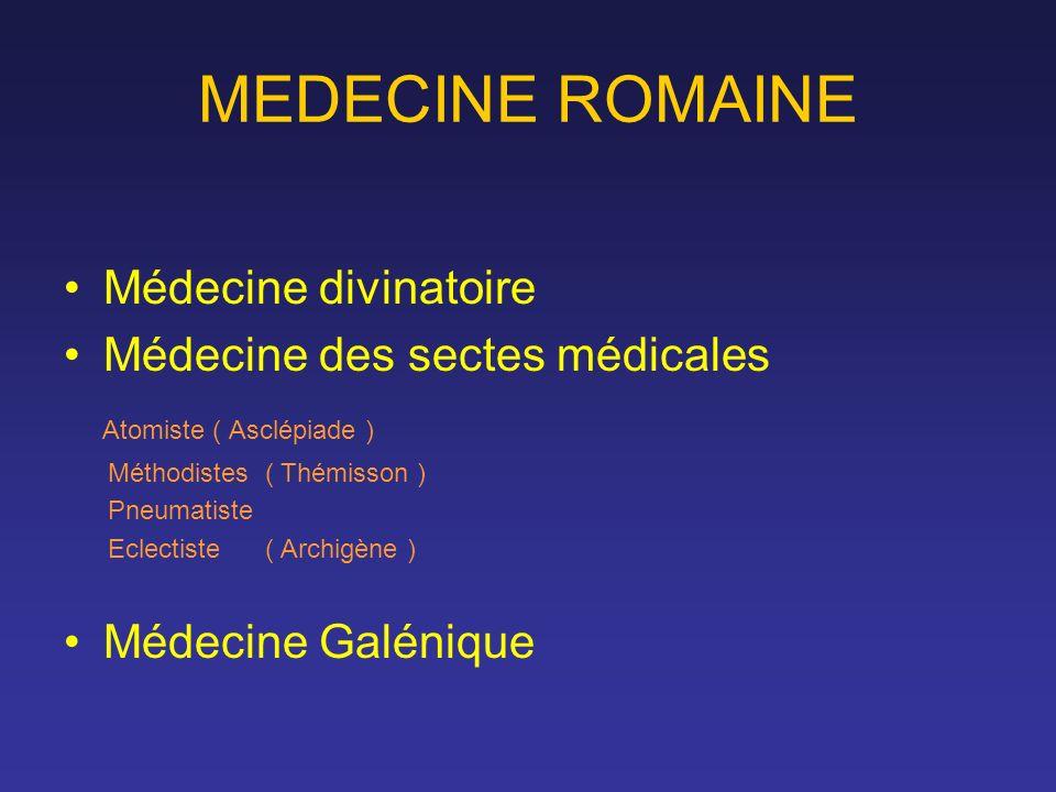 MEDECINE ROMAINE Médecine divinatoire Médecine des sectes médicales