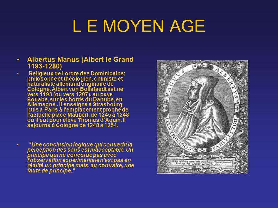 L E MOYEN AGE Albertus Manus (Albert le Grand 1193-1280)
