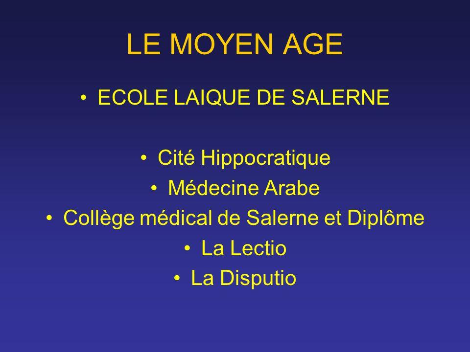 LE MOYEN AGE ECOLE LAIQUE DE SALERNE Cité Hippocratique Médecine Arabe