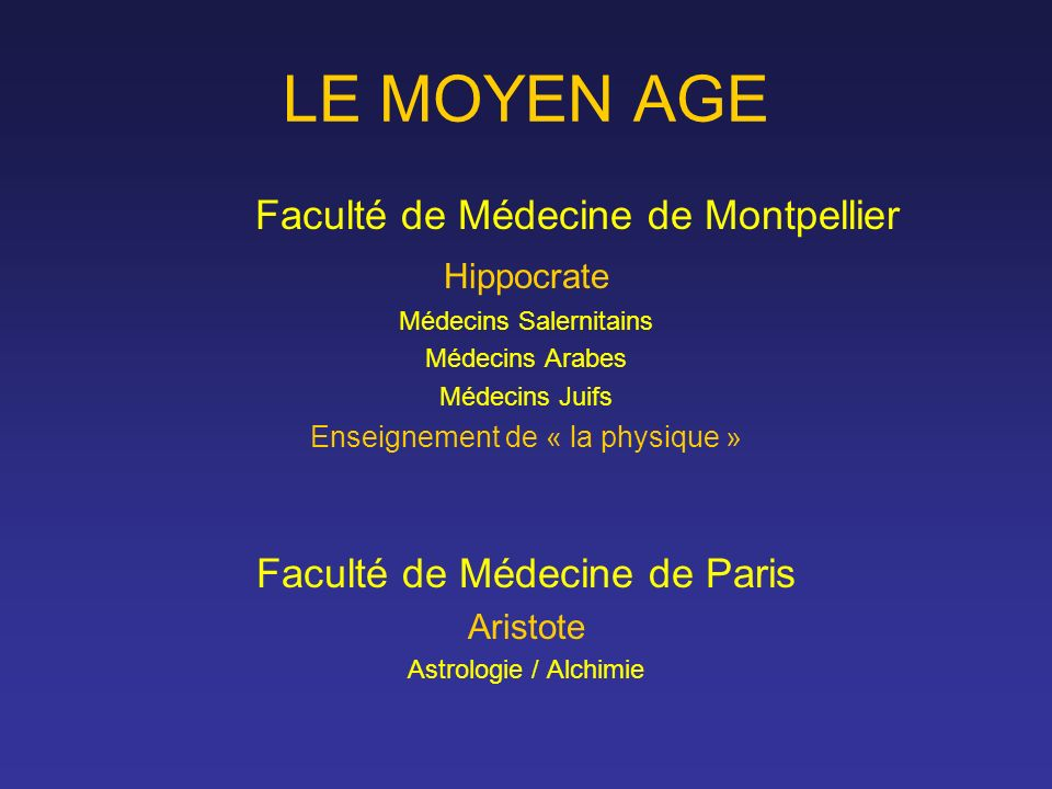 LE MOYEN AGE Faculté de Médecine de Montpellier