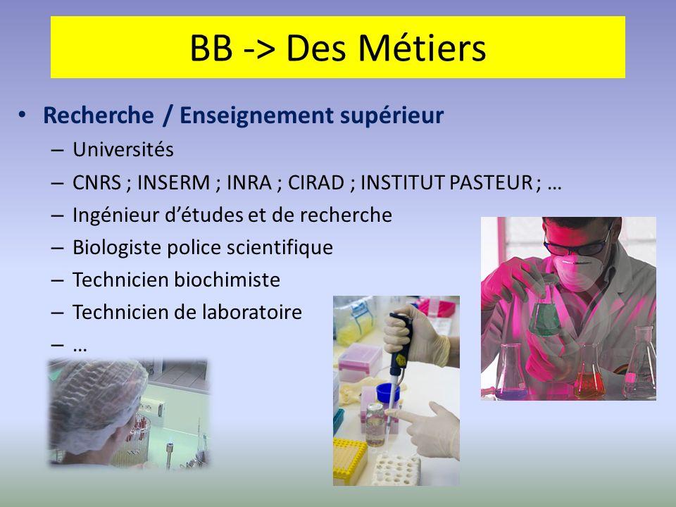 BB -> Des Métiers Recherche / Enseignement supérieur Universités