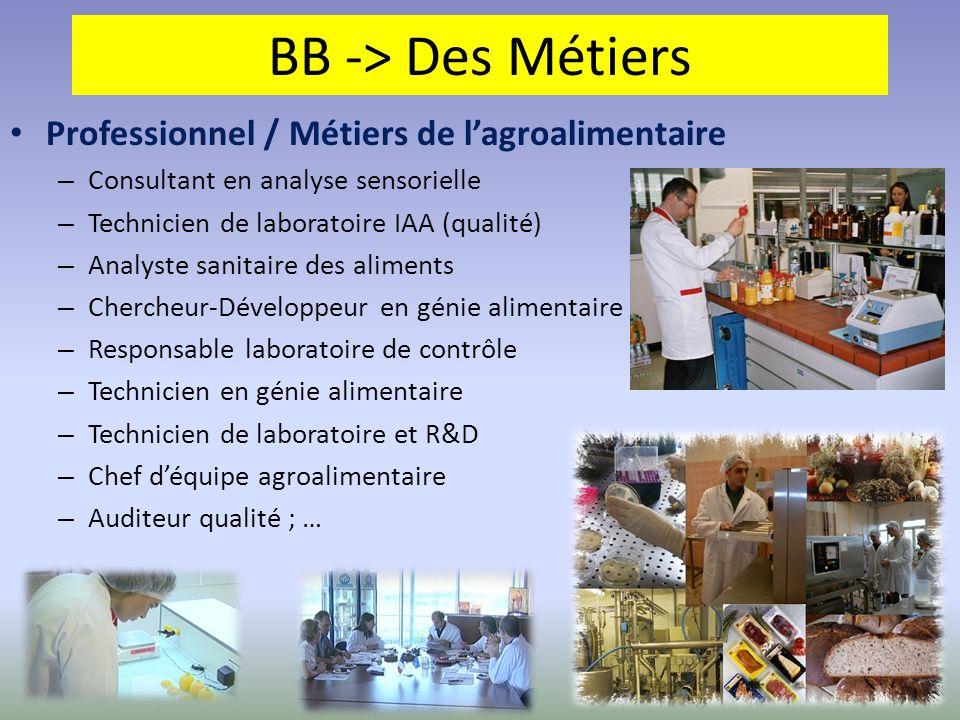 BB -> Des Métiers Professionnel / Métiers de l'agroalimentaire
