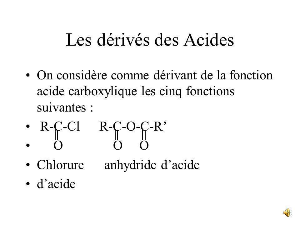Les dérivés des Acides On considère comme dérivant de la fonction acide carboxylique les cinq fonctions suivantes :