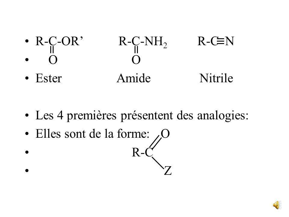 R-C-OR' R-C-NH2 R-C NO O. Ester Amide Nitrile.
