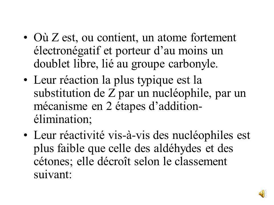 Où Z est, ou contient, un atome fortement électronégatif et porteur d'au moins un doublet libre, lié au groupe carbonyle.
