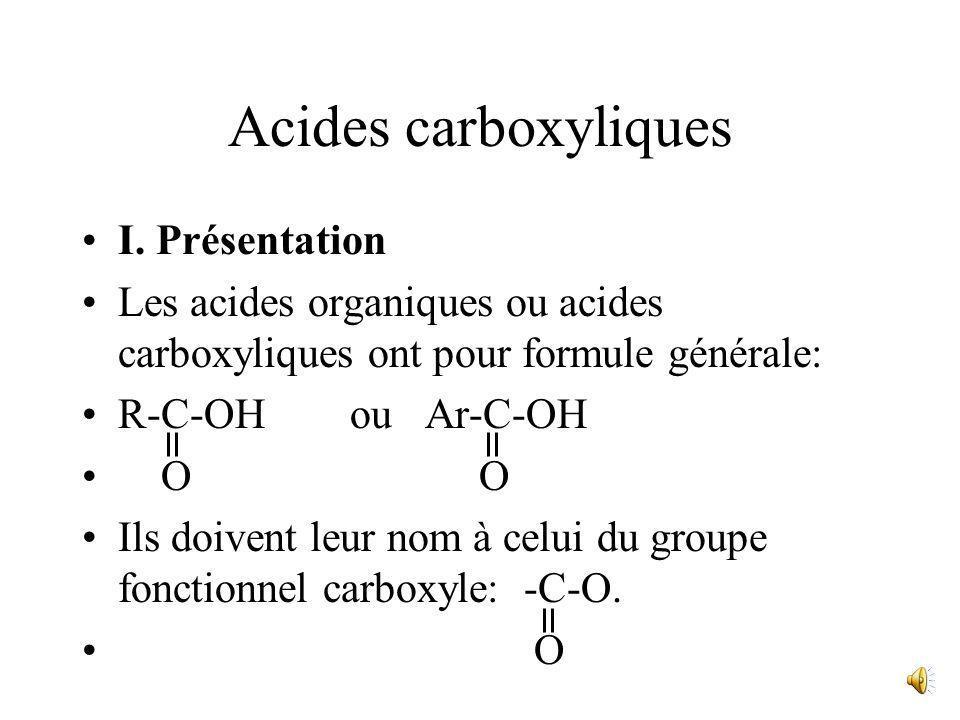 Acides carboxyliques I. Présentation