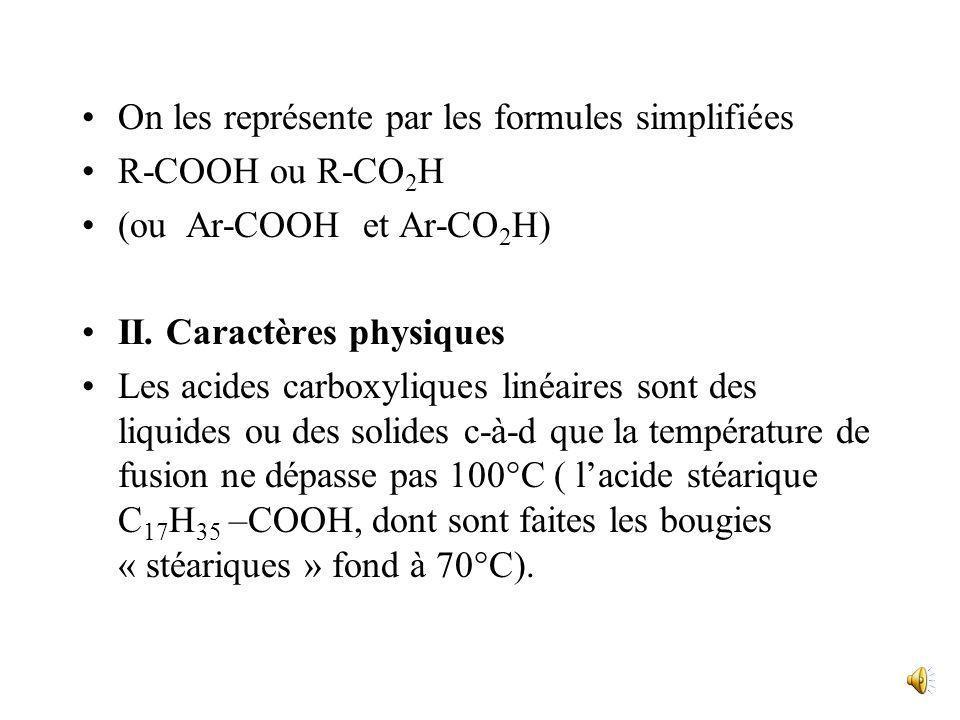 On les représente par les formules simplifiées